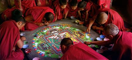 Sand mandala at Thiksey monastery, still from the film Samsara
