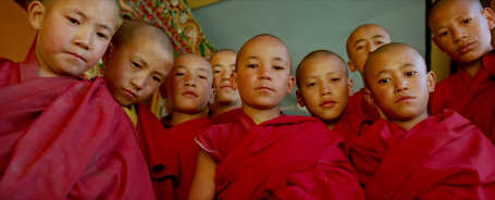 Boy monks at Thiksey monastery, still from the film Samsara